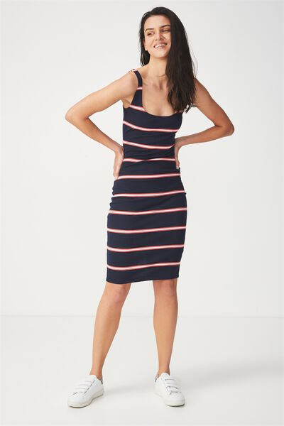 Kimi Scooped Bodycon Midi Dress, REMI STRIPE MOONLIGHT/ROSE PETAL