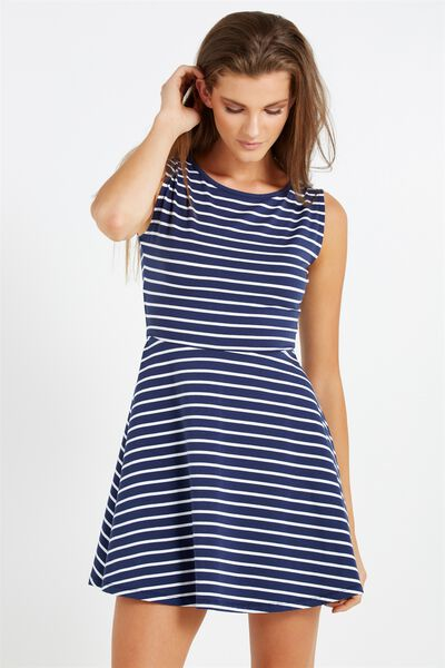 Sammie Sleeveless Fit And Flare, SPACE NAVY/WHITE MINI LINEA STRIPE