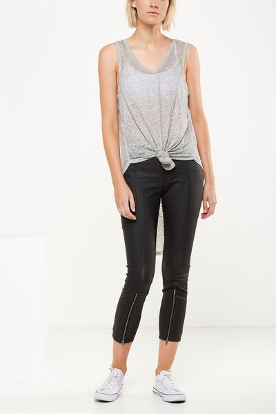 Mid Rise Grazer Skinny Jean, BLACK COATED TWIN SEAMS