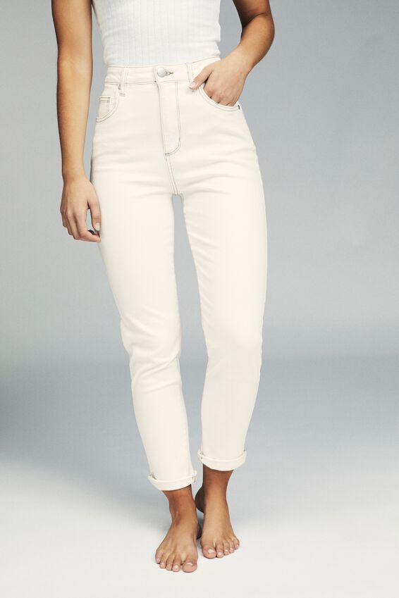 Stretch Mom Jean, BONE WHITE