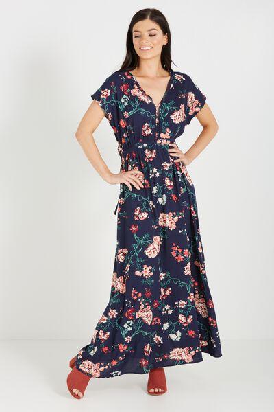 Woven Mira Kimono Maxi Dress, TASIA FLORAL MOOD INDIGO