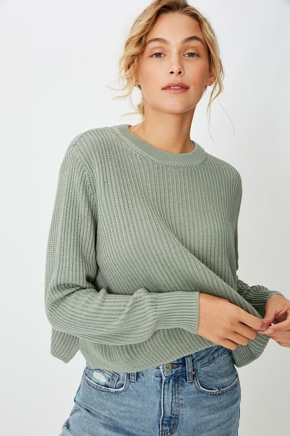 Archy Cropped 2 Pullover, ICEBERG GREEN