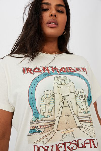 Curve Graphic License Tee, LCN IM IRON MAIDEN POWERSLAVE/LILY WHITE