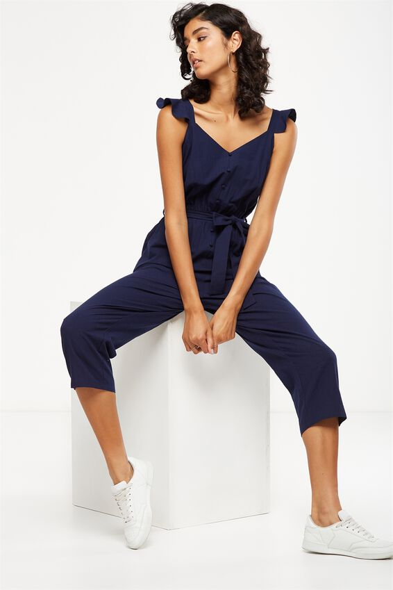 Woven Flo Tapered Jumpsuit, NAVY