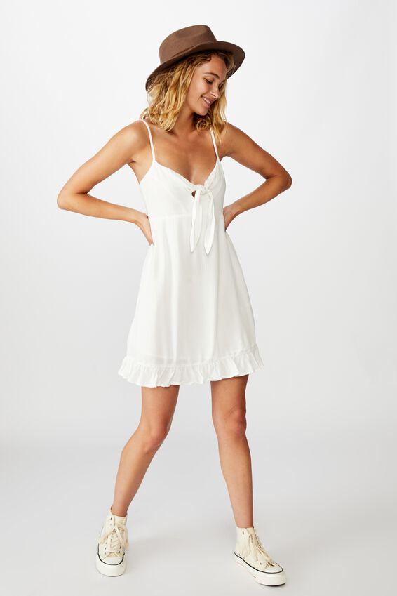 Woven Kiara Tie Front Mini Dress, WHITE