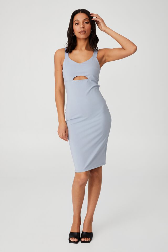 Day To Night Bodycon Cut Out Midi Dress, SILVER BLUE