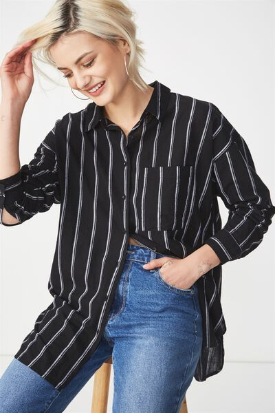 Monique Shirt, STELLA STRIPE BLACK