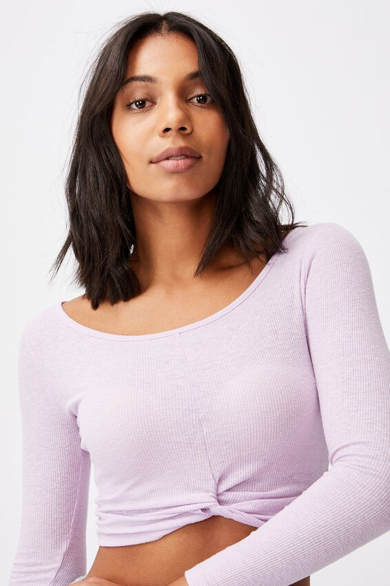 A Tilly Twist Front Long Sleeve Top, LILAC BLOSSOM