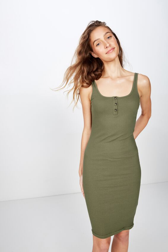 Kaylee Bodycon Midi Dress, SOFT KHAKI
