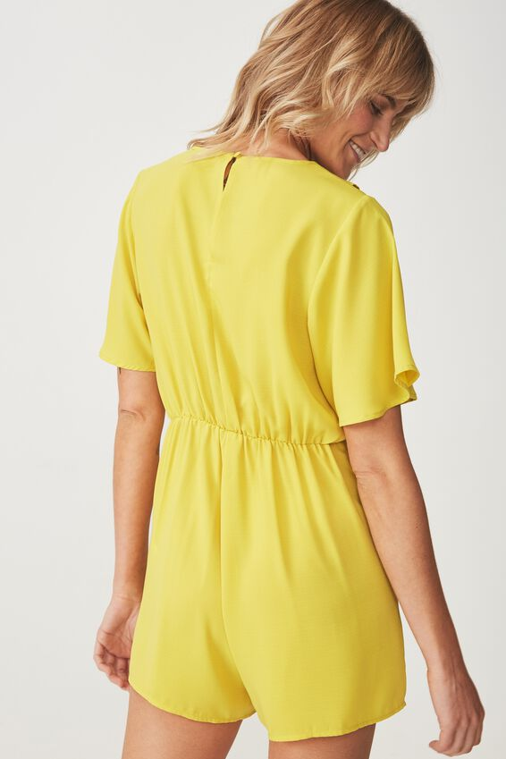 Woven Kennedy Frill Playsuit, ANTIQUE MOSS
