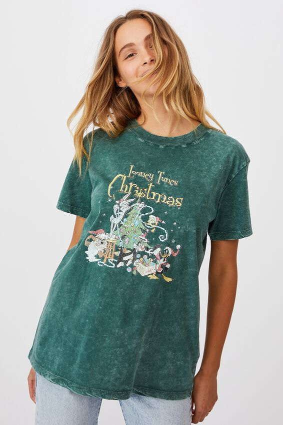 Classic Christmas License T Shirt, LCN WB LOONEY TUNES XMAS/WINTER GREEN