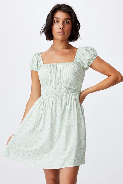 Woven Frankie Puff Sleeve Shirred Fit And Flare Mi, RIDDLE DITSY SPRING MINT