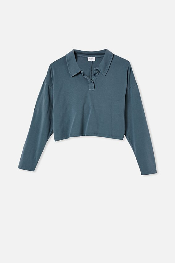 Ryan Long Sleeve Polo, WASHED MIDNIGHT NAVY