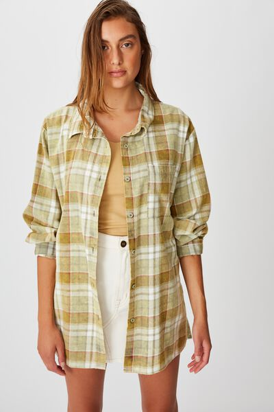 Relaxed Flannel Shirt, STACEY CHECK DARK OLIVE