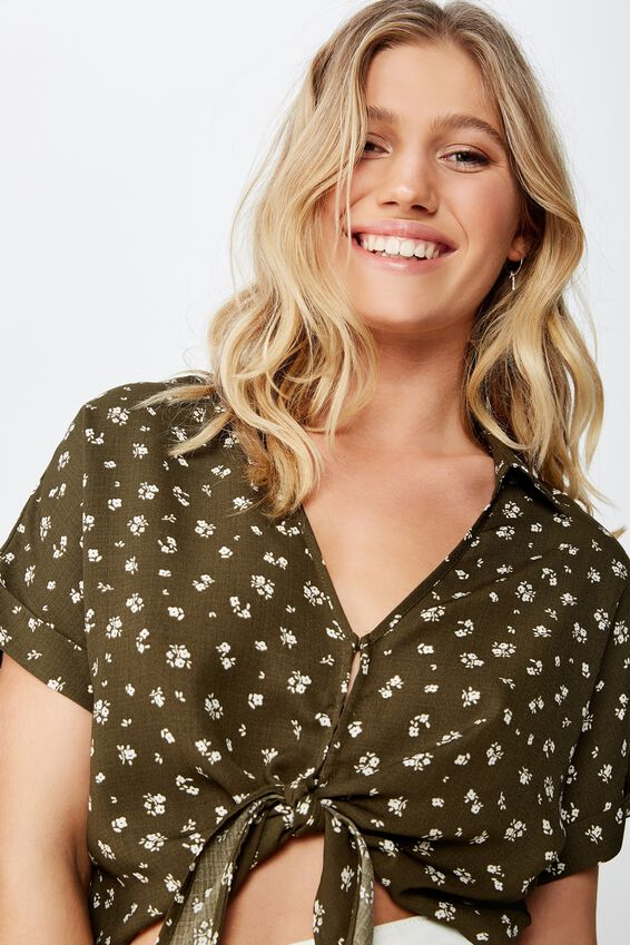 Tilly Tie Front Cropped Shirt, AMY DITSY OLIVE NIGHT