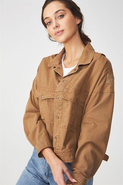 Oversized Military Jacket, TOBACCO