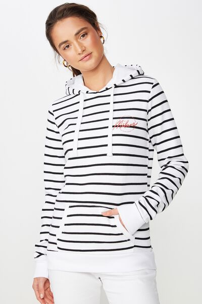 Delevingne Graphic Hoodie, MILANO BLACK STRIPE/WHITE