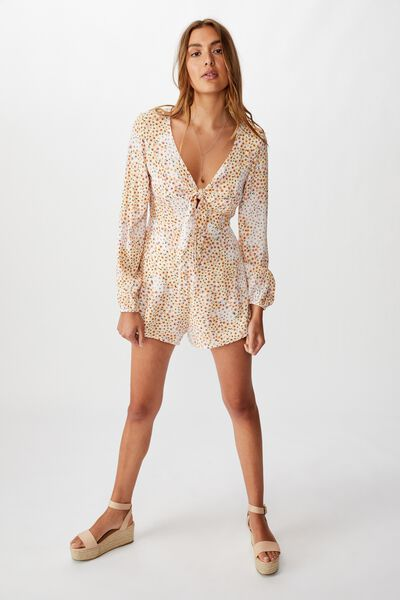 Woven Alena Tie Front Long Sleeve Playsuit, MANDY MULTI DITSY GARDENIA