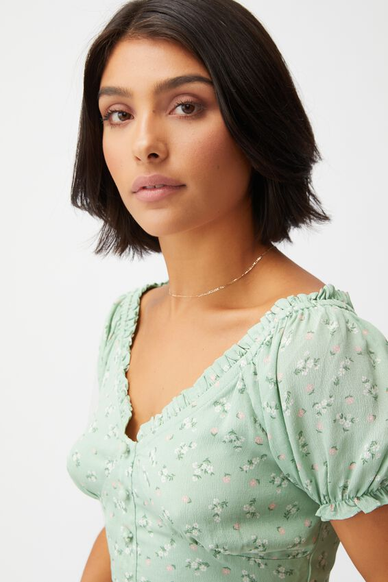Tesse Tie Back Cropped Tea Blouse, RIDDLE DITSY SPRING MINT