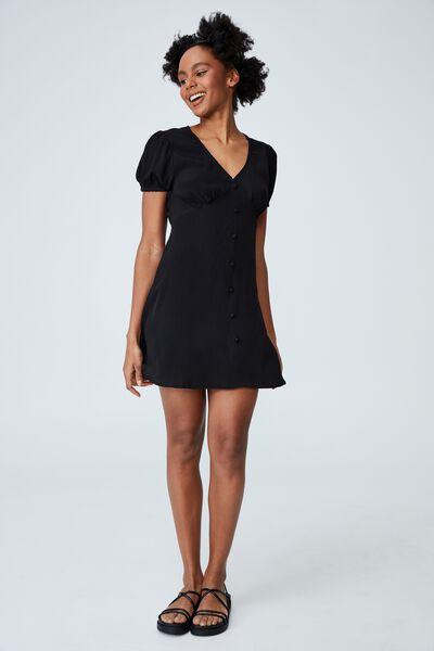 Woven Mindy Button Through Mini Dress, BLACK