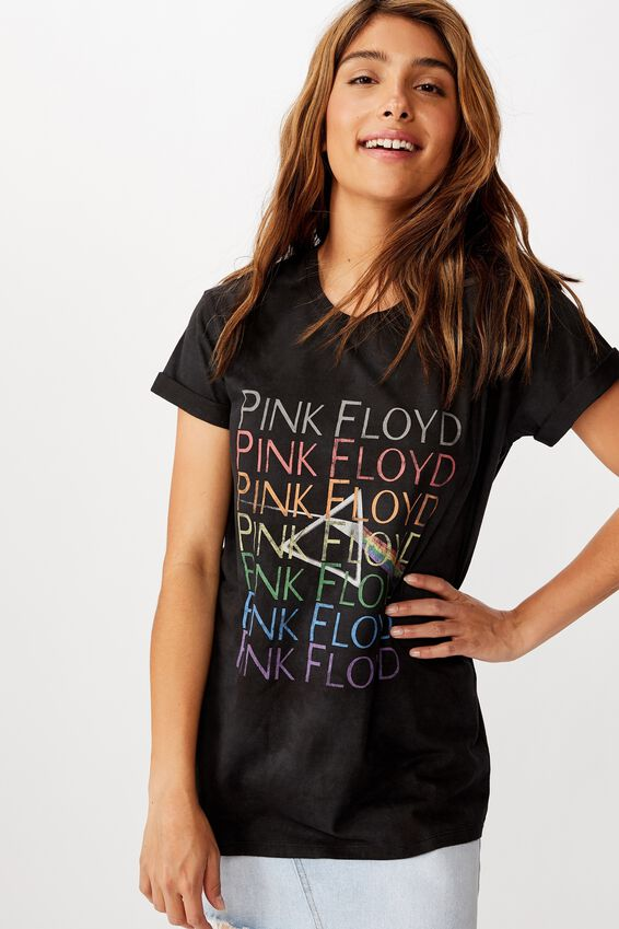 Classic Pink Floyd T Shirt, LCN PER PINK FLOYD RAINBOW/BLACK