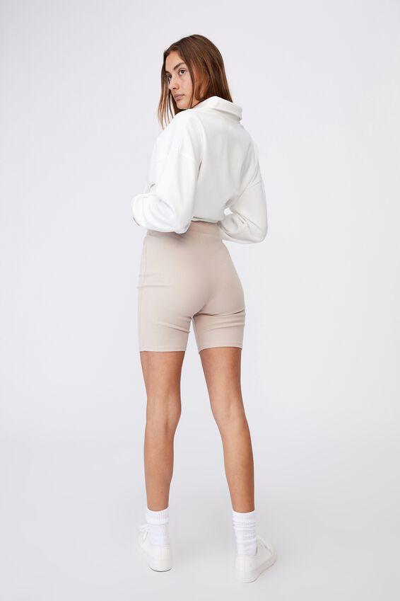 The Beverly Rib Bike Shorts, SILVER STONE
