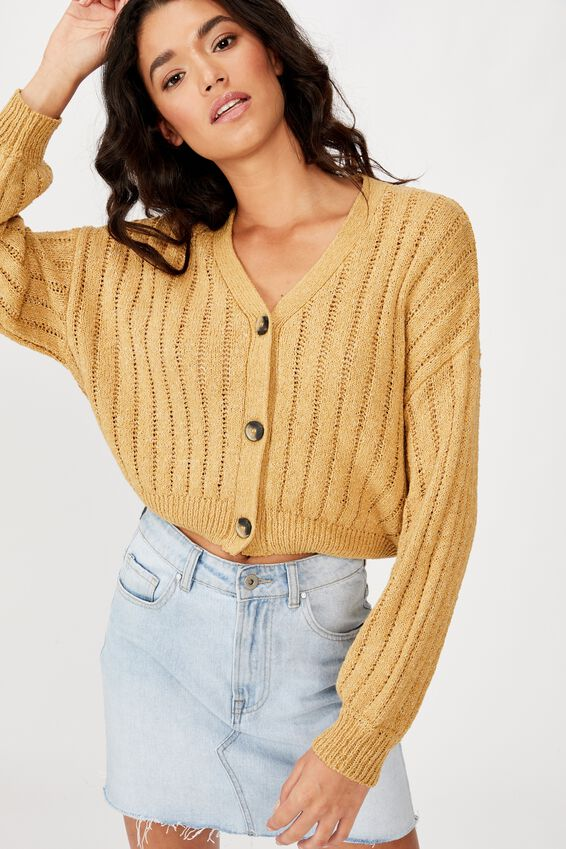 Textured Cropped Cardi, PRARIE SAND