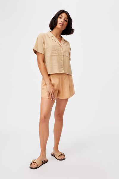 Erika Short Sleeve Shirt, BROWN TAUPE