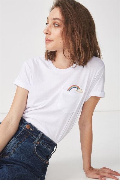 Tbar Fox Graphic T Shirt, LEAVE ME ALONE POCKET/WHITE