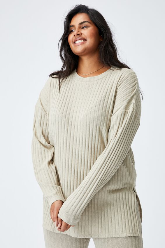 Curve Renee Rib Long Sleeve Top, FLAX GREY