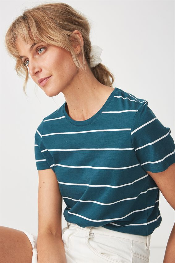 The Crew T Shirt, ANJA STRIPE DEEP TEAL/COCONUT MILK