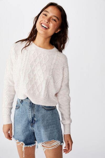 Cable Cropped Crew Neck, ZEPHYR