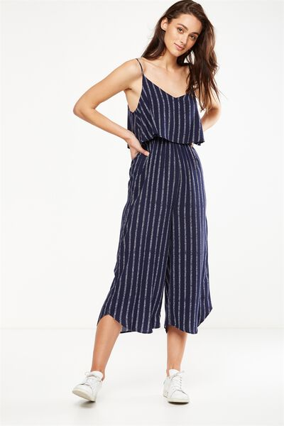 Woven Maddie Strappy Jumpsuit, LUCY TEXTURE STRIPE MIDNIGHT OCEAN