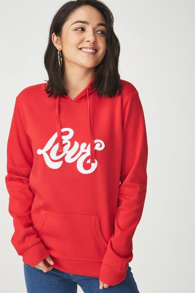 Delevingne Graphic Hoodie, LOVE/CHILLI RED