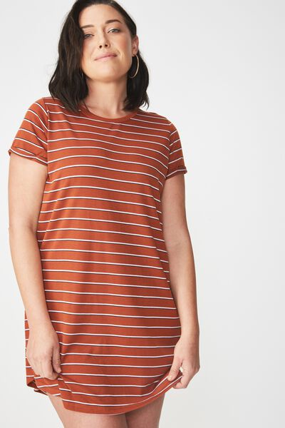 Tina Tshirt Dress 2, LENA STRIPE GINGER BREAD