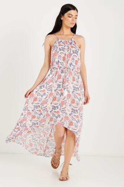 Woven Elliot High Neck Maxi Dress, PERSIA FLORAL SMALL WHITE