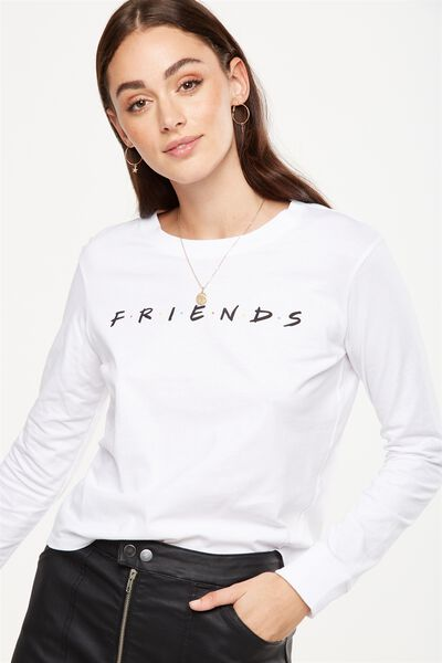 Tbar Tammy Chopped Graphic Long Sleeve Tee, LCN FRIENDS/WHITE