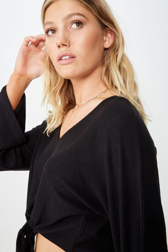 Mac Tie Front Kimono Sleeve Top, BLACK