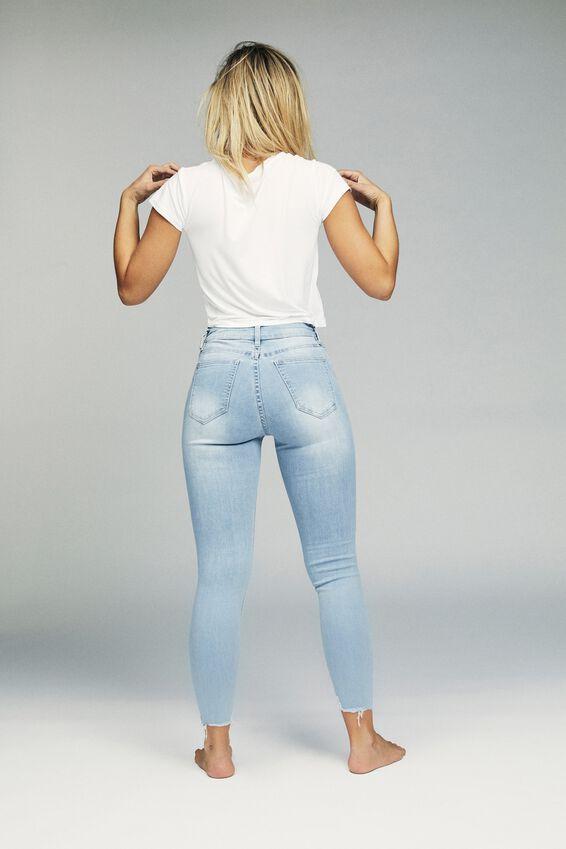 Mid Rise Cropped Skinny Jean, BLEACH BLUE CHEWED HEM RIP