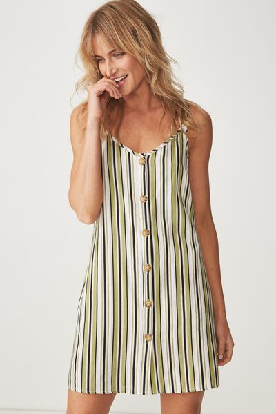 Woven Margot Slip Dress, BUTTON THROUGH LUCY STRIPE GREEN