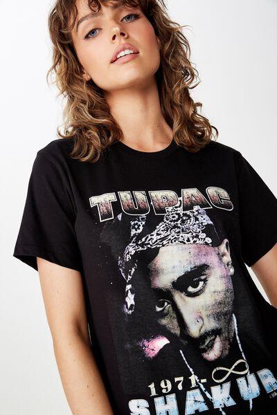 Classic Hip Hop T Shirt, LCN TUPAC 90'S/BLACK