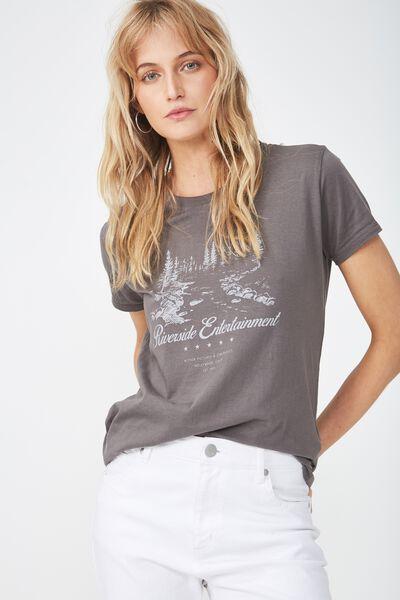 Tbar Fox Graphic T Shirt, RIVERSIDE ENTERTAINMENT/SLATE GREY