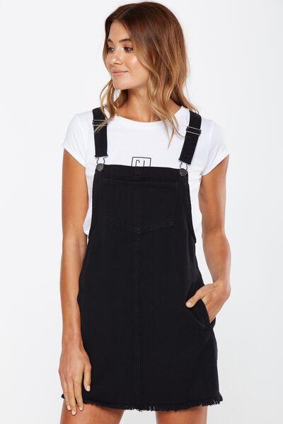 Buy black pinafore dress