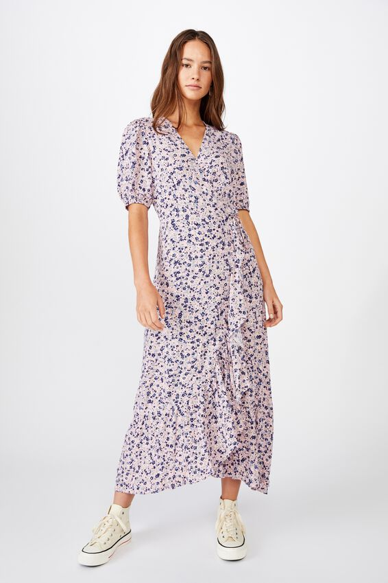 Woven Ri Ruffle Wrap Maxi Dress, BRONTE DITSY ZEPHYR