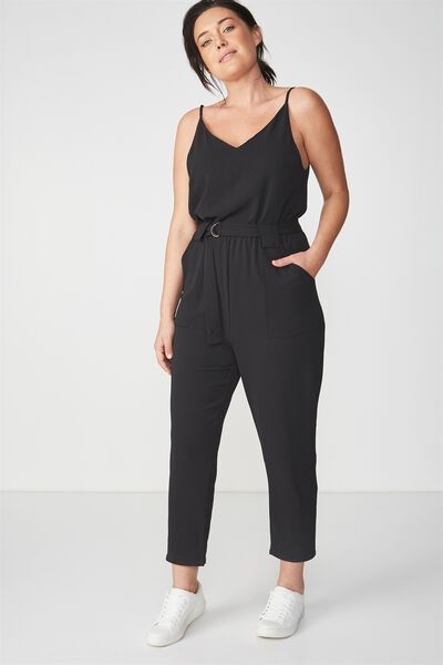 Woven Strappy Jackie Jumpsuit, BLACK