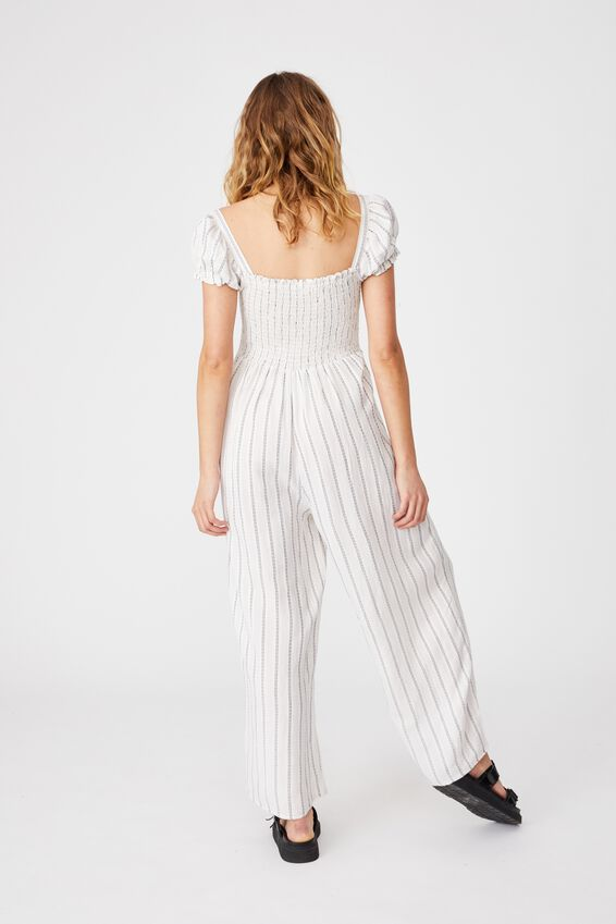 Woven Sasha Shirred Jumpsuit, CHALK WHITE/NAVY