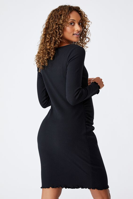 Maternity Rib Lettuce Edge Long Sleeve Dress, BLACK