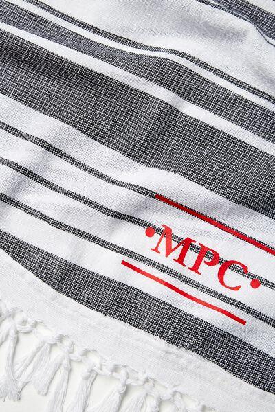 Tolve Round Beach Blanket, BLACK & WHITE