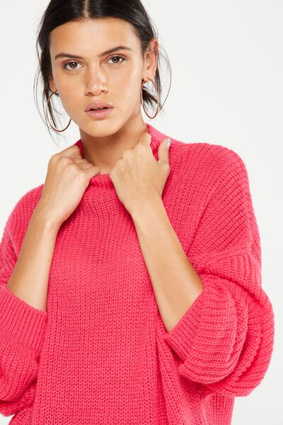 Willow Oversized Cozy Mock Neck Pullover, PINK YARROW