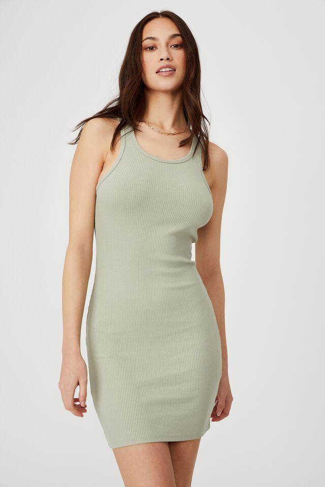 Essential Racer Mini Dress, SAGE